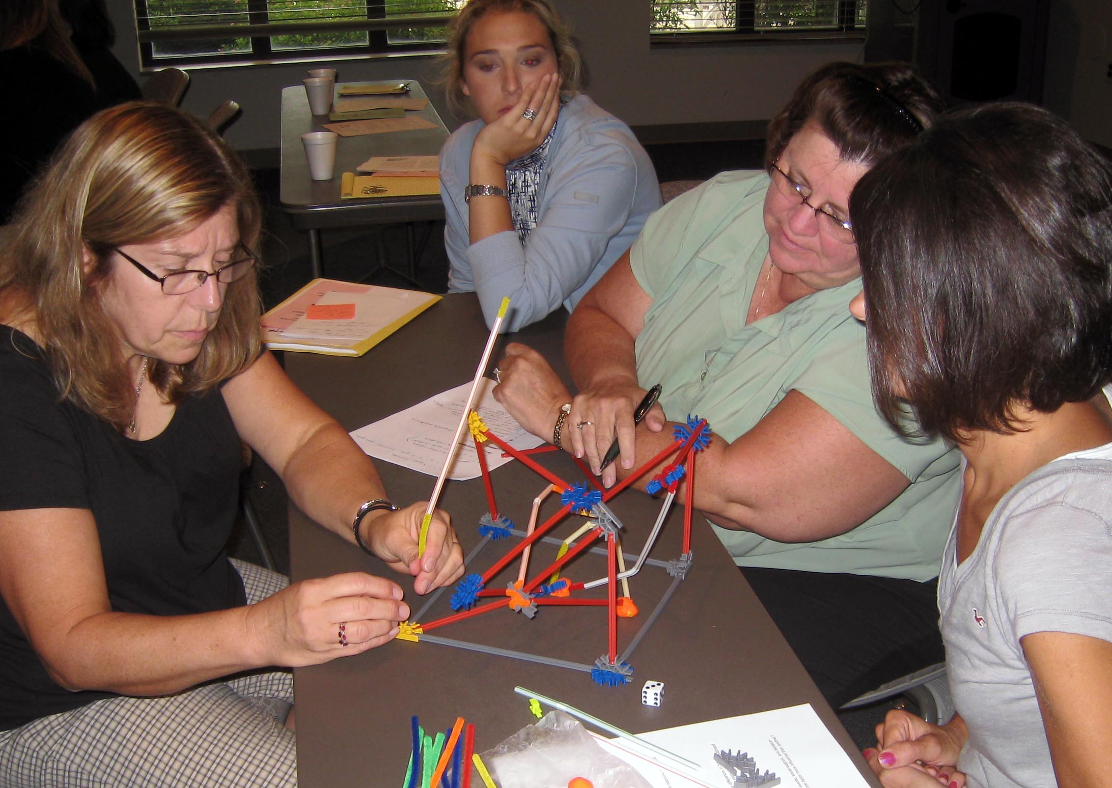 """Teachers play an early concept prototype of """"Brain Architecture"""" game at an Early Head Start workshop taught by Prof. Judy Cameron in Pennsylvania, September, 2010."""